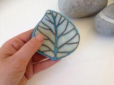 Leaf trinket dish fused glass in blue and cream by KoruGlassArt