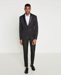 Image 1 of BLACK JACQUARD BLAZER from Zara