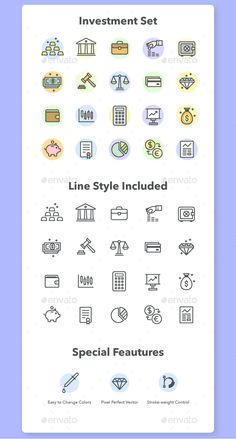 Investment and Finance Icon Set  — EPS Template #vector icons • Download ➝…