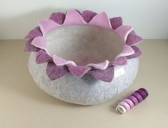 Cat bed/cat house/cat cave/purple lotus felted cat bed by elevele, $77.00