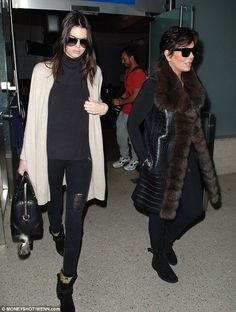 Dressed down to dapper: While Kendall sported ripped jeans and plain beige cardigan, Kris ...
