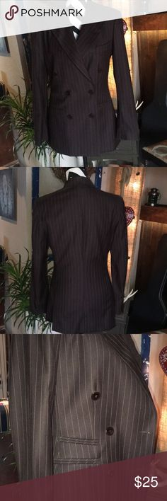 """Taylored pinstriped blazer Gorgeous brown & tan pinstripe, taylored in Italy double breasted, arm length 18"""", shoulders 17"""", pit-pit 20"""",length 28"""".  Shell is 100% virgin wool 🐑 Daniel & Rebecca Jackets & Coats Blazers"""