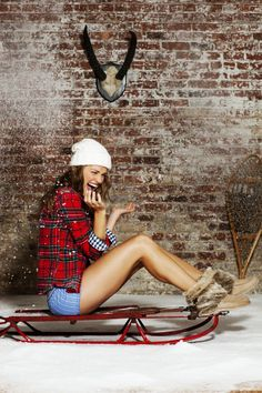 Sarah Kehoe Candy Shop : Mad for Plaid | Winter Wear | Women's Fashion | Fun Studio Photoshoot | Cute Girl | Laughter | Snow | Adela Capova