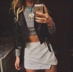 Leather jacket + envelope skirt