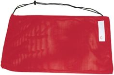 "Lifeguard Equipment Bag has 100% Quik™ dry Nylon mesh. Shoulder strap cord with lock. Personal ID tag with lifeguard logo. Lifeguard Red. Measures: 28"" x 18""."