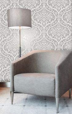 Sandringham Damask Silver Heavy weight wallpaper from Fine Decor's Sandringham collection. Contemporary damask design in shimmering metallic silver and smokey grey Silver Grey Wallpaper, Damask Wallpaper, New Wallpaper, Designer Wallpaper, Wallpaper Ideas, Damask Rose, Blue Wallpapers, Vintage Bohemian, Tub Chair