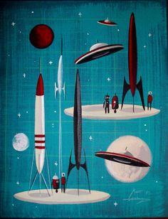 EL GATO GOMEZ PAINTING RETRO OUTER SPACE SHIP ROCKET ROBOT SCI-FI MARS 1960S #Modernism