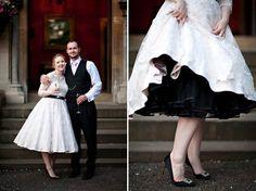 Candy Anthony wedding dress, black petticoat, Manolo Blahnik wedding shoes. LOVE!