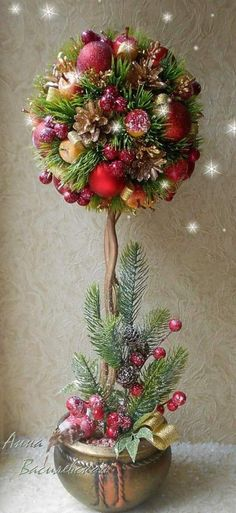 Dekoration Weihnachten - Christmas is a world wide celebrated event. Friends and family come together to . Christmas Flower Decorations, Christmas Topiary, Christmas Flower Arrangements, Christmas Flowers, Noel Christmas, Christmas Centerpieces, All Things Christmas, Christmas Wreaths, Topiary Centerpieces