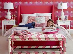 Every little girl's dream bedroom. #pink #wallpaper #hgtvmagazine http://www.hgtv.com/decorating-basics/full-house-a-favorite-room-for-everyone/pictures/page-15.html?-soc=pinterest