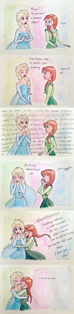 *Please, fullview!*  This is how Frozen should have ended in my opinion. I think that if i have been Elsa, i would have told Anna the truth. And say, of course, that i'd loved her . This piece...