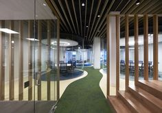 MVN Arquitectos has developed a new office space design for global insurance firm Aegon located in Madrid, Spain. From AEGON values borns a new conception Banks Office, Office Space Design, Space Interiors, Studio Interior, Co Working, Commercial Design, Interior Architecture, Madrid, Furniture Design