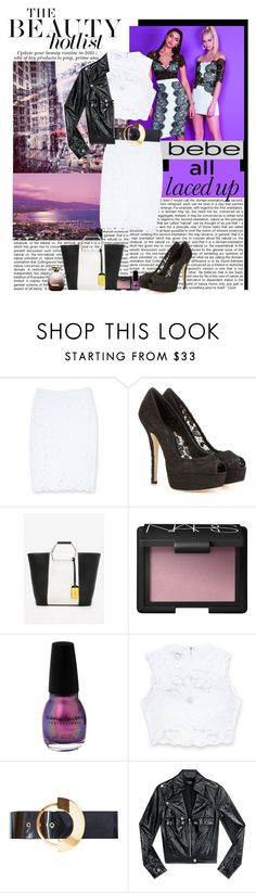 """""""All Laced Up for Spring with bebe: Contest Entry"""" by polybaby ❤ liked on Polyvore featuring Bebe, Dolce&Gabbana, Nina Ricci, NARS Cosmetics, Roksanda and alllacedup"""