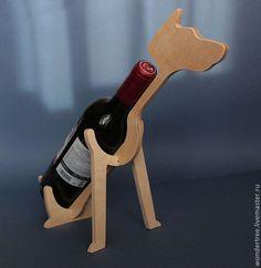 """Купить подставка для бутылки """"собака"""" - бежевый, собака, фанера, для кухни, декор для интерьера, для вина, для декупажа"""