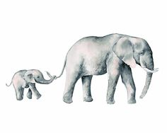 8x10 Elephant Print by Katrina Pete. Gray by PinkPoppyWatercolors