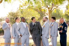 groom and groomsmen wearing classic grey suites at Kenneth Hahn State Recreation Area