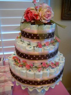diaper cake I made for my girlfriend's baby shower