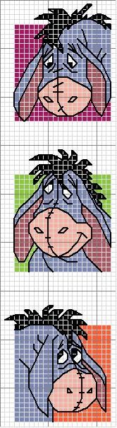 Cross-stitch Eeyore bookmark ... use the colors on the chart as your color guide.