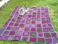 Look at this amazing crochet blanket made by DROPS fan Lene!  She made 99 squares from 950 gr Delight nr 14 and measures 135x160 cm.