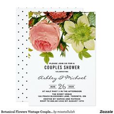 Botanical Flowers Vintage Couples Shower Card Rustic and stylish couples shower invitation featuring vintage peonies, roses, and other flowers. This invitation is perfect for vintage, bohemian or shabby chic themed events. The wording is completely customizable to fit any event.