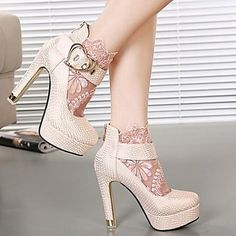 Women's+Shoes+Round+Toe+Chunky+Heel+Ankle+Boots+with+Lace+More+Colors+available+–+USD+$+37.99