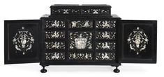 An Italian Neorenaissance mother-of-pearl and brass-inlaid ebonized casket Lombardy, circa 1860