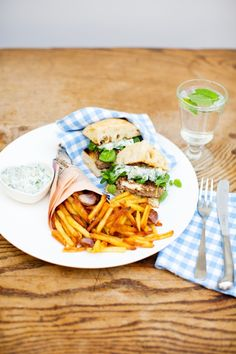 Feta Stuffed Lamb Burgers with Tzatziki