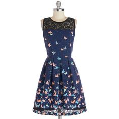 Flight of Fanciful Dress (1,430 MXN) ❤ liked on Polyvore featuring dresses, blue, lace, a-line, daytime party, long, novelty print, sheer, woven and a line dress