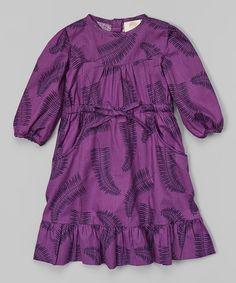This Purple Fern Ruffle Organic Ruffle Dress - Infant, Toddler & Girls is perfect! #zulilyfinds
