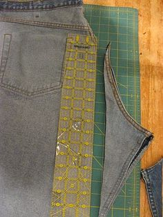 Ahahaha! tutorial for jeans to skirt, straightening that curved piece...great!