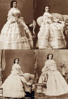 Sisi is wearing a white gown. Photo by Ludwig Angerer, Empress Elisabeth of Austria (Sisi, due to the movie also known now as Sissi, 1800s Fashion, Victorian Fashion, Old Photos, Vintage Photos, Die Habsburger, Empress Sissi, Franz Josef I, Elisabeth, Herzog