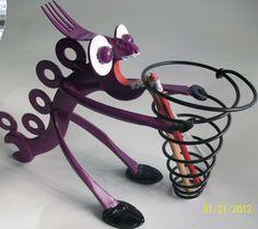Purple People Greeter - Recycled metal sculpture