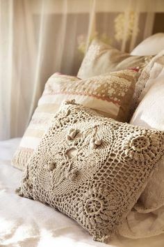 crochet pillows on the bed Romantic Bedroom