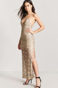 FOREVER 21 Plunging Sequin Maxi Dress
