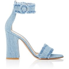 Gianvito Rossi Women's Kiki Denim Ankle-Strap Sandals ($785) ❤ liked on Polyvore featuring shoes, sandals, heels, light blue, ankle wrap sandals, light blue sandals, denim shoes, open toe high heel sandals and ankle tie sandals