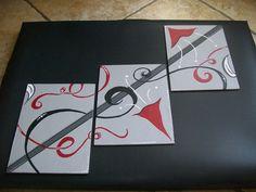 18/24 cm  lot de 3 toiles peinture acrylique aquarelle ARTISANAL