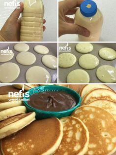 Pancakes (Very Practical)- Pankek (Çok Pratik) Tatlı tarifleri – The Most Practical and Easy Recipes Brunch Recipes, Breakfast Recipes, Cake Recipes, Dinner Recipes, Dessert Recipes, Rose Cookies, Mini Pancakes, Nutella Pancakes, Mini Muffins