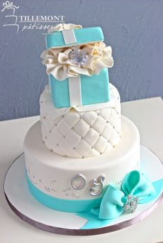 Tiffany and Co. Engagement Cakes | Patisserie Tillemont | Montreal #tiffany #diamond