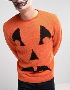 ASOS HALLOWEEN Jumper with Pumpkin Face in Fluffy