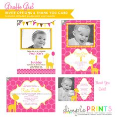 Giraffe Pink Deluxe Printable Party Package - Dimple Prints Shop