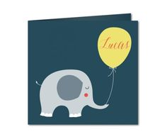 faire part naissance elephant et ballon