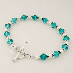 Turquoise Blue Swarovski Crystal Beaded Toggle Bracelet