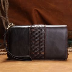 Men Cowhide Leather Double Zipper Large Wristlet Wallet Weave Braided Organizer #Unbranded