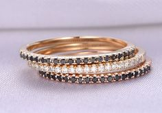 3 Wedding rings set,Black and White diamonds wedding ring,14k Rose gold,Thin Wedding Band,Diamond matching band,Personalized for her/him