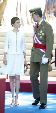 King Felipe VI of Spain and Queen Letizia of Spain (L) attend the 2015 Armed Forces Day at Plaza de la Lealtad on June 6, 2015 in Madrid, Spain.
