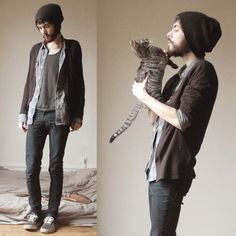 Topman Bennie, H Cardigan, American Apparel Tri Blend Tank, Cheap Monday Black Jeans