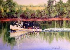 Lobster Boat Party 11inX15in watercolour painting on Arches 140lb cold pressed paper by Ken Crawford