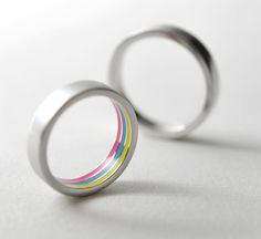 Rainbow Ring - silver with gold plating