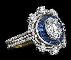 Brilliant cut diamond and sapphire ring.  Alexandra Mor.