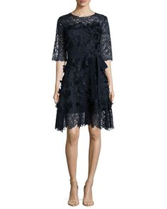 Three-Dimensional Daisy Applique & Lace Dress, Navy by Escada at Neiman Marcus.